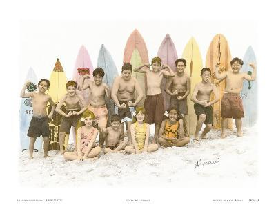 Surf's Up!, Hand Colored Photo of Hawaiian Children-Himani-Art Print
