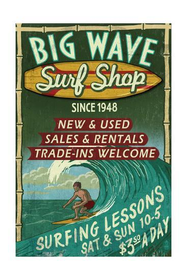 Surf Shop - Vintage Sign-Lantern Press-Art Print
