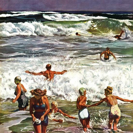 """Surf Swimming,"" August 14, 1948-John Falter-Premium Giclee Print"