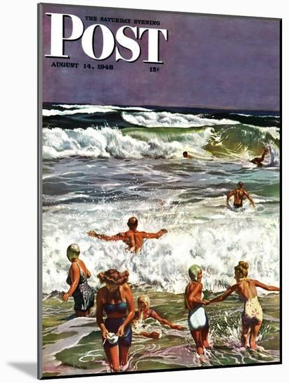 """""""Surf Swimming,"""" Saturday Evening Post Cover, August 14, 1948-John Falter-Mounted Giclee Print"""