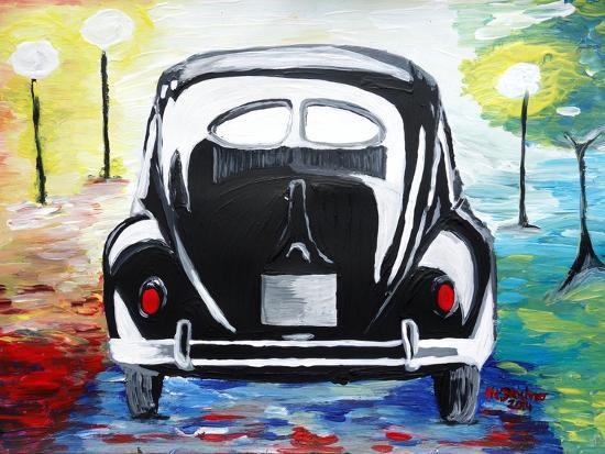 Surf VW Bug Series - The Black Volkswagen Bug Split Window-Martina Bleichner-Art Print