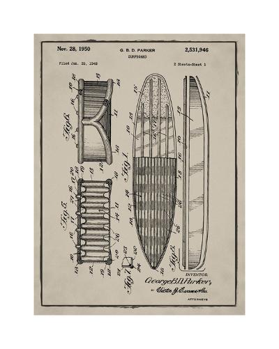 Surfboard, 1948-Gray-Bill Cannon-Giclee Print