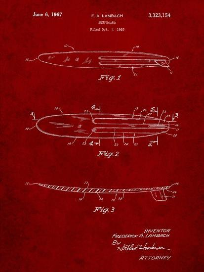 Surfboard 1965 Patent-Cole Borders-Art Print