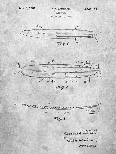 Surfboard 1965 Patent-Cole Borders-Art Print