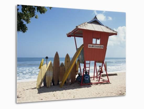 Surfboards Stacked Waiting for Hire at Kuta Beach on the Island of Bali, Indonesia, Southeast Asia-Harding Robert-Metal Print