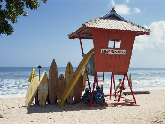 Surfboards Stacked Waiting for Hire at Kuta Beach on the Island of Bali, Indonesia, Southeast Asia-Harding Robert-Photographic Print