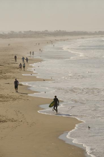Surfer and People on Pismo State Beach, Pismo Beach, California, USA-Cindy Miller Hopkins-Photographic Print
