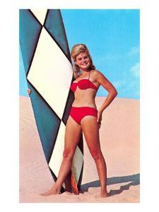 Surfer Girl in Red Two-Piece