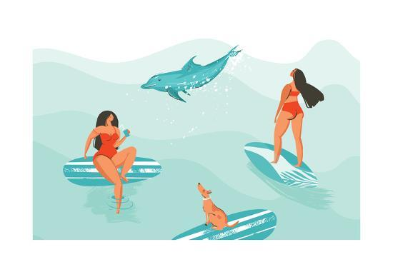 Surfer Girls with a Dolphin - Summer Time Illustration-Helter skelter-Art Print