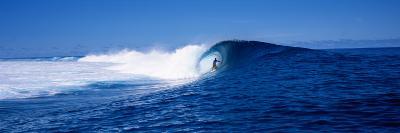 Surfer in the Sea, Tahiti, French Polynesia--Photographic Print