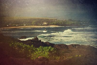 Surfer on a Waverunner in the Water at Hookipa Beach in Maui with the West Maui Mountains-pdb1-Photographic Print