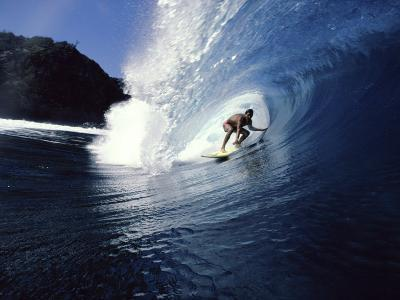 Surfer Riding a Wave--Photographic Print