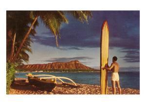 Surfer with Diamond Head
