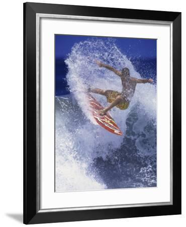 Surfer with Red Board--Framed Photographic Print