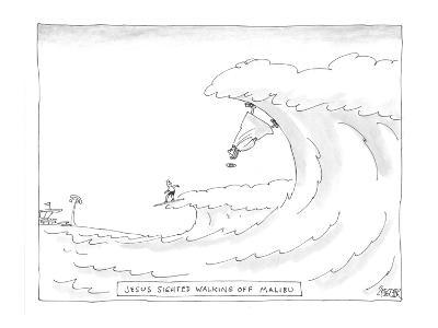 Surfer witnesses Jesus walking on waves in Malibu. - Cartoon-Jack Ziegler-Premium Giclee Print