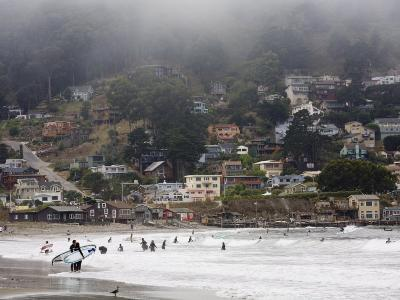 Surfers at Linda Mar Beach, Pacifica, California, United States of America, North America-Levy Yadid-Photographic Print