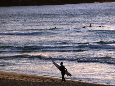 Surfers at Sunrise on Bondi Beach, Sydney, Australia-Glenn Beanland-Photographic Print