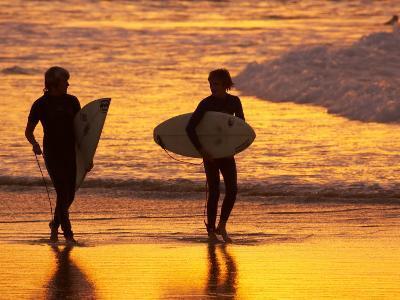 Surfers at Sunset, Gold Coast, Queensland, Australia-David Wall-Photographic Print