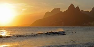 Surfers at Sunset on Ipanema Beach, Rio De Janeiro, Brazil