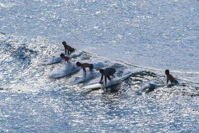 Surfers at the Hookipa Beach Park, Paai, Maui, Hawaii, United States of America, Pacific-Michael Runkel-Photographic Print