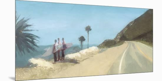 Surfers At The Point-Malcolm Sanders-Mounted Giclee Print