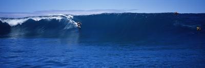 Surfers in the Sea, Tahiti, French Polynesia--Photographic Print