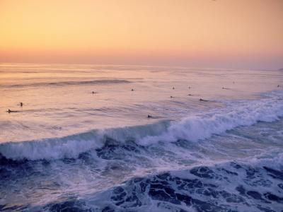 Surfers, Mission Beach, San Diego, California-James Lemass-Photographic Print