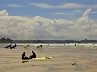 Surfers with Boards on Perranporth Beach, Cornwall, England-Simon Montgomery-Photographic Print