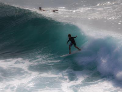 Surfing on Honolua Bay, Kapalua, Hawaii, USA-Douglas Peebles-Photographic Print