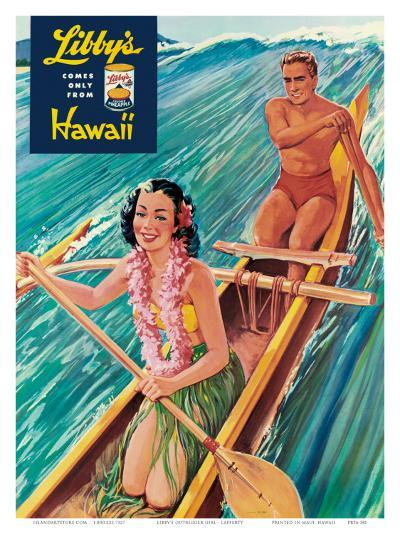Surfing on Outrigger Canoe, Libby's Pineapple Hawaii, c.1957-Laffety-Art Print
