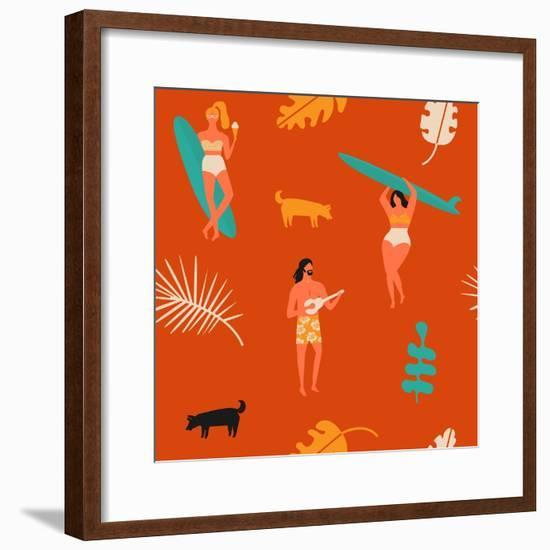 Surfing Pattern with Girls Carrying Surfboards and a Guy Playing Music-Tasiania-Framed Premium Giclee Print