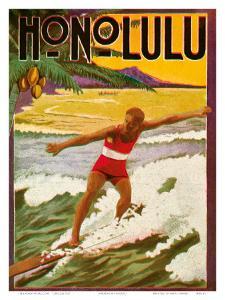 Surfing, Tourist Booklet, Honolulu, Hawaii, c.1918