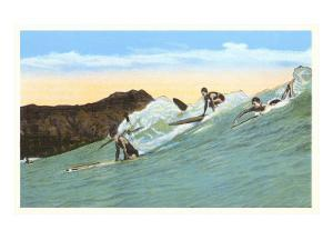 Surfing with Cliffs in Background