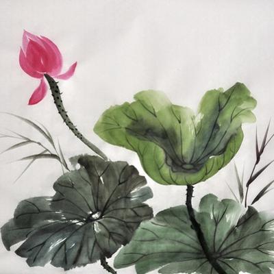 Watercolor Painting Of Lotus Flower by Surovtseva