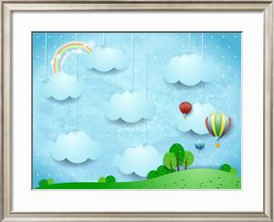 Surreal Landscape With Hanging Clouds And Hot Air Balloons Vector Illustration Art Print Luisa Venturoli Art Com