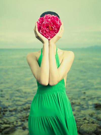 Surreal Portrait Of A Woman With A Flower Instead Of A Face-George Mayer-Art Print