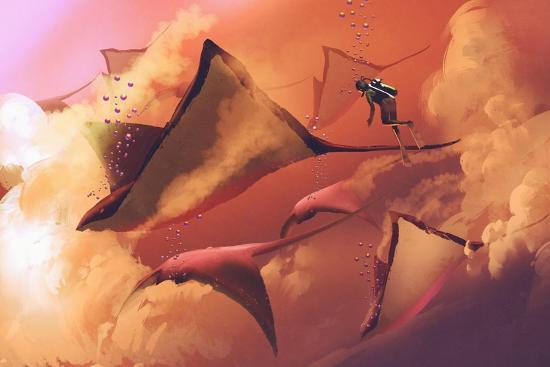 Surreal World Concept Showing Diver and Manta Rays Flying in the Cloudy Sky,Illustration Painting-Tithi Luadthong-Art Print