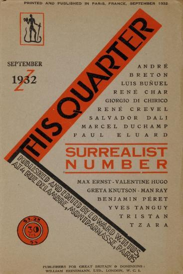 Surrealist Number, Front Cover of the English Edition of 'This Quarter' September 1932--Giclee Print