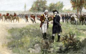 Surrender of British Commander Burgoyne to American General Gates at Saratoga, New York, c.1777