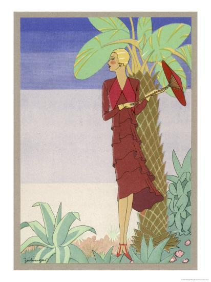 Surrounded by Exotic Vegetation She Stands Primly with Her Parasol- Zeilinger-Giclee Print