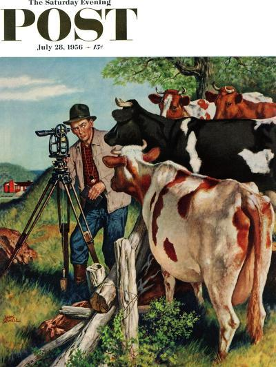 """Surveying the Cow Pasture"" Saturday Evening Post Cover, July 28, 1956-Amos Sewell-Giclee Print"