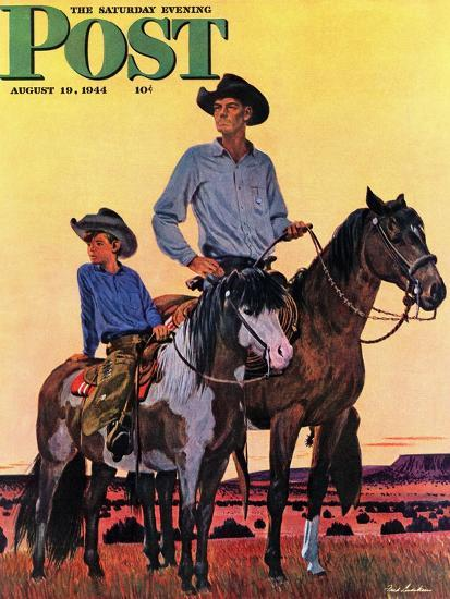 """Surveying the Ranch,"" Saturday Evening Post Cover, August 19, 1944-Fred Ludekens-Giclee Print"