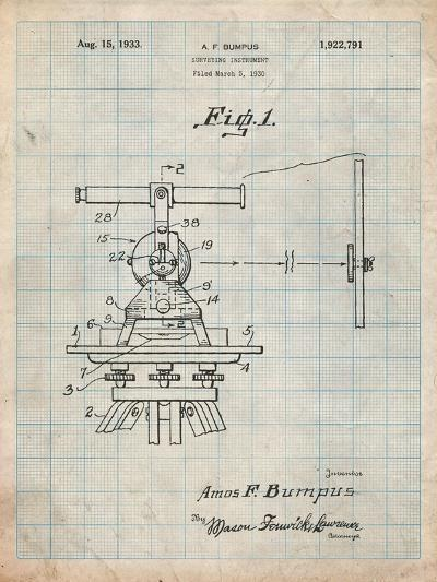 Surveyor's Transit 1891 Patent-Cole Borders-Art Print
