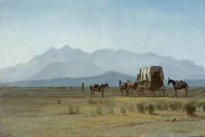 Surveyor's Wagon in the Rockies, C.1859 (Oil on Paper Mounted on Masonite)-Albert Bierstadt-Giclee Print