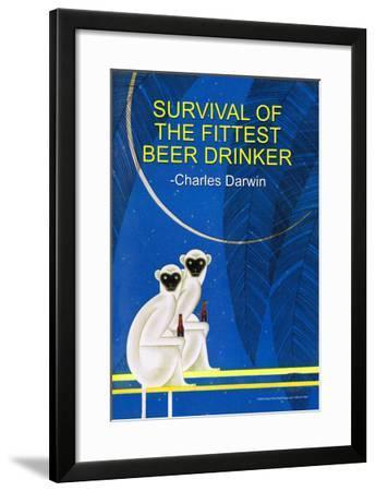 Survival of the Fittest Beer Drinker--Framed Art Print