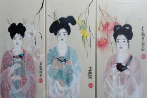 Chinese Women (Triptych) 2015 1,2,3 by Susan Adams
