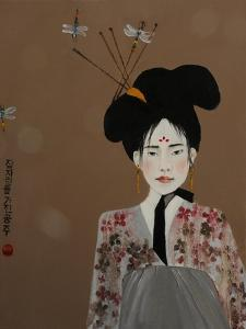 Korean Princess with Dragonflies,2017 by Susan Adams