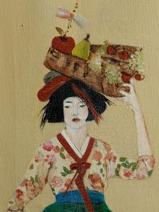 Korean Women with Basket of Fruit, 2016, Detail by Susan Adams