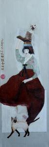 Korean Women with Siamese Cats, 2016 by Susan Adams