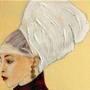 Lady in Dark Red with Flemish Headdress, 2016 (Detail) by Susan Adams